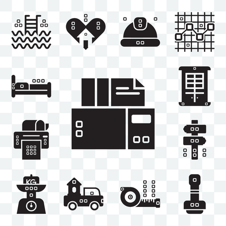 Set Of 13 transparent editable icons such as Archives, Paper work, Measuring, Trucks, Kilograms, Panel, printer, Facade, Beds, web ui icon pack Vector Illustration