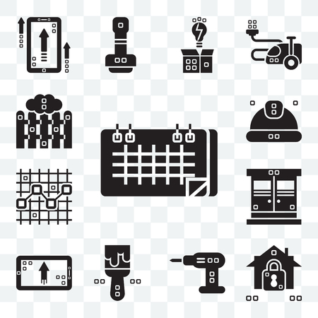 Set Of 13 transparent editable icons such as Seventeen, Security system, Driller, Painted, Up, Entrance, Line chart, Worker, Picket, web ui icon pack Stock Illustratie