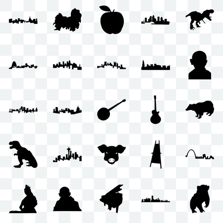 Set Of 25 transparent icons such as badger, florida, grand piano, gandhi, lord shiva, image les paul, pig face, t rex, missouri, apple, shih tzu, web UI transparency icon pack Illustration
