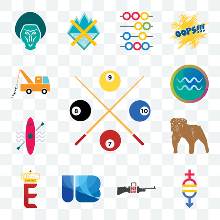 Set Of 13 transparent editable icons such as snooker, gender equality, gun shop, ib letter, e crown, aquarius, tow truck, web ui icon pack Illustration