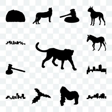 Set Of 13 transparent icons such as cheetah outline on white background, louisiana gorilla, web ui editable icon pack, transparency set