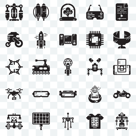 Set Of 25 transparent icons such as Robot, Smart clothing, Solar panel, Panoramic view, Ar glasses, Drone, Vehicle, Tree, Jetpack, web UI transparency icon pack