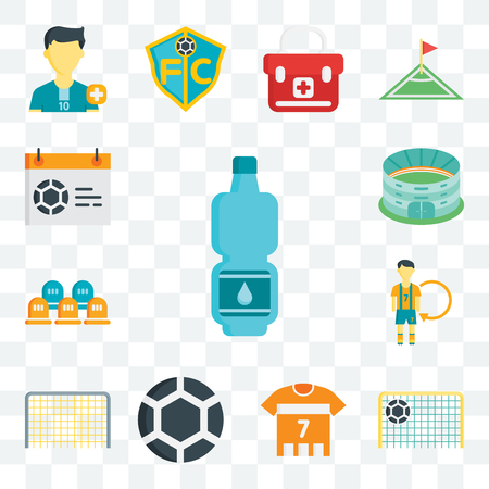 Set Of 13 transparent editable icons such as Tumbler, Goal, Soccer jersey, Ball, Player, Seats, Stadium, Calendar, web ui icon pack