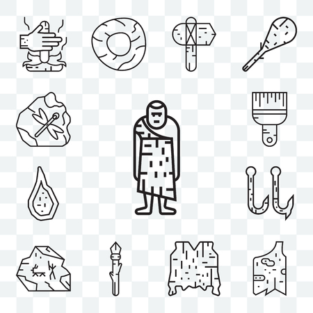Set Of 13 transparent editable icons such as Troglodyte, Clothes, Skin, Spear, Cave painting, Hook, Weapon, Brush, web ui icon pack