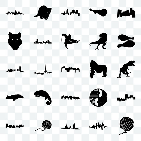 Set Of 25 transparent icons such as yarn ball, pennsylvania state, alabama, jamaica, turkey leg, gorilla, utah, chalk, wolf face, , raccoon, web UI transparency icon pack