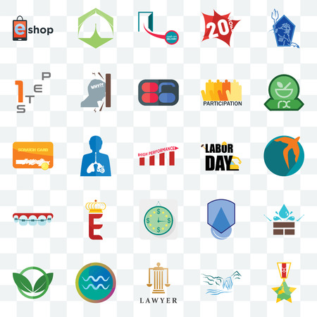 Set Of 25 transparent icons such as veteran, waterfall, lawyer, aquarius, eco club, pharmacy, labor day, estimate, orthodontist, step 1, cash on delivery, marquee, web UI transparency icon pack Banco de Imagens - 106805455