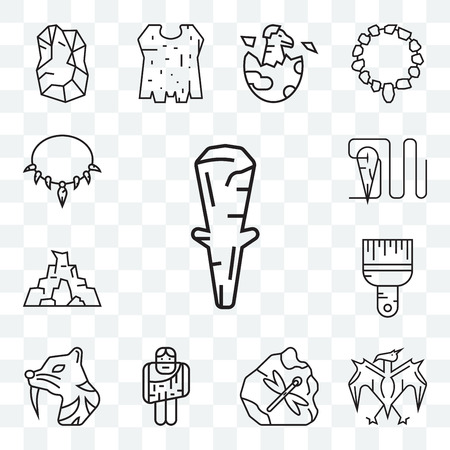 Set Of 13 transparent editable icons such as Club, Pterodactyl, Troglodyte, Saber toothed tiger, Brush, Cave, Needle, Necklace, web ui icon pack