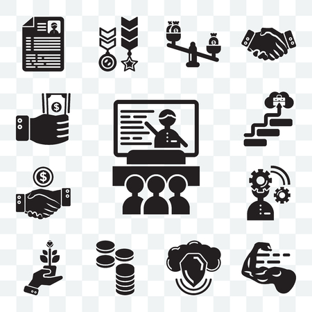 Set Of 13 transparent editable icons such as Presentation, Strength, Data, Cash, Growth, Planning, Deal, Career, Investment, web ui icon pack Illustration