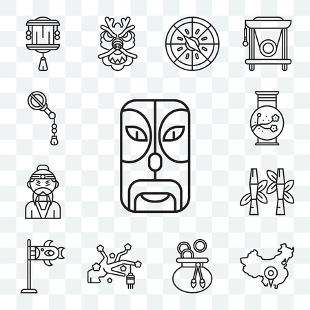 Ensemble de 13 icônes modifiables transparentes telles que masque, Chine, sac d'argent, Sakura, Koinobori, bambou, empereur, vase, ventilateur, pack d'icônes web ui Vecteurs