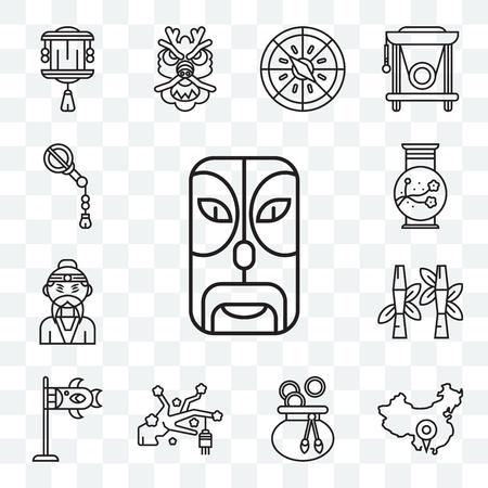 Set Of 13 transparent editable icons such as Mask, China, Money bag, Sakura, Koinobori, Bamboo, Emperor, Vase, Fan, web ui icon pack