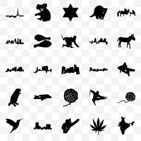 Set Of 25 transparent icons such as india, marijuana leaf, koala, montana, hummingbird, donkey, jamaica, yarn ball, beaver, kentucky state, star of david, web UI transparency icon pack Illustration