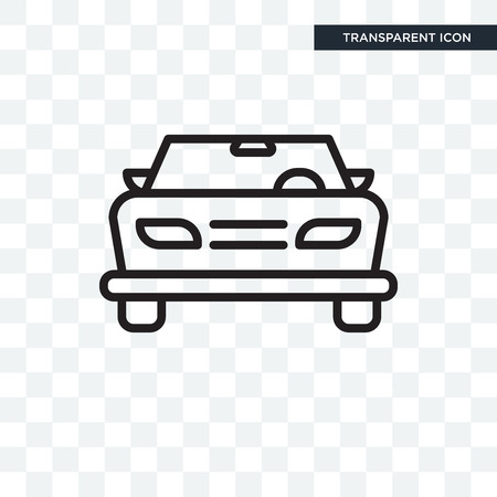 Car frontal view vector icon isolated on transparent background