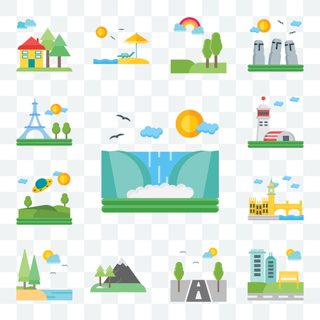 Set Of 13 transparent editable icons such as Waterfall, Park, Road, Mountains, Lake, London, Ufo, Hangar, Paris, web ui icon pack Illustration
