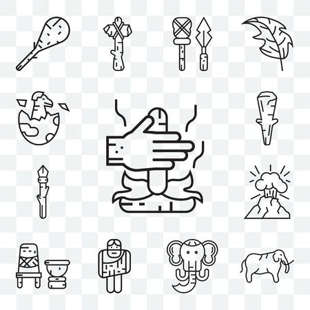 Set Of 13 transparent editable icons such as Fire, Mammoth, Troglodyte, Mortar, Volcano, Spear, Club, Dinosaur, web ui icon pack Illustration