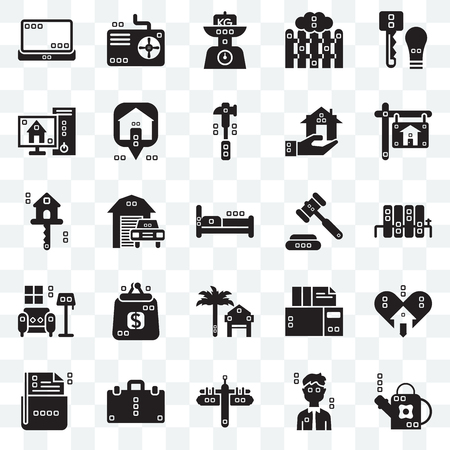 Set Of 25 transparent icons such as Gardening, Actions, Maps and Flags, Book bag, File storage, Real estate, Ceremonial, Rent, Indoor, Blackboard, Kilograms, Cooling, web UI transparency icon pack