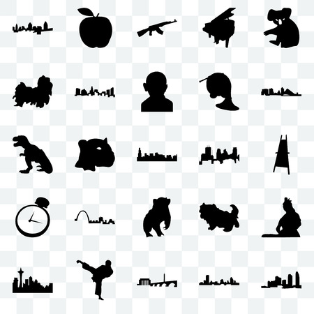Set Of 25 transparent icons such as long island, wisconsin, dc, karate kick, seattle, minneapolis, badger, pocket watch, shih tzu, ak47, apple, web UI transparency icon pack