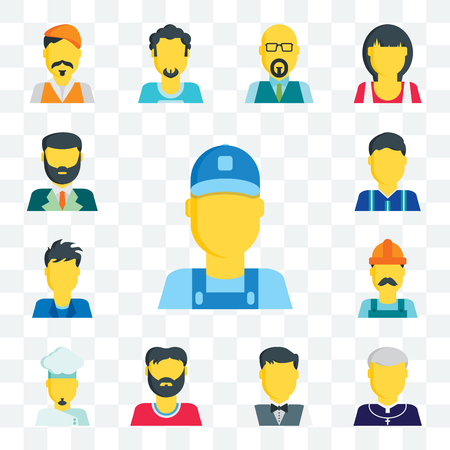 Set Of 13 transparent editable icons such as Clerk, Priest, Waiter, Man, Chef, Worker, Football player, Lawyer, web ui icon pack Vecteurs