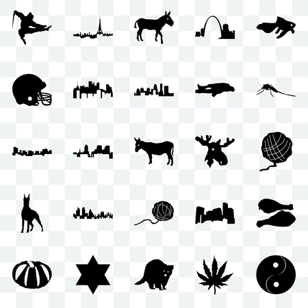 Set Of 25 transparent icons such as yin yang, marijuana leaf, raccoon, star of david, pumpkin, mosquito, moose head, yarn ball, doberman, football helmet, donkey, paris, web UI transparency icon pack