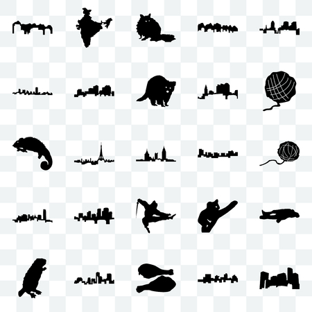 Set Of 25 transparent icons such as minnesota, jamaica, turkey leg, louisiana, beaver, yarn ball, ninja, oklahoma, maryland, raccoon, india, web UI transparency icon pack