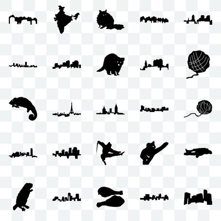 Set Of 25 transparent icons such as minnesota, jamaica, turkey leg, louisiana, beaver, yarn ball, ninja, oklahoma, maryland, raccoon, india, web UI transparency icon pack