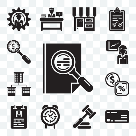 Set Of 13 transparent editable icons such as Archive, Rectangular, Judging, Circular clock, Curriculum, Banking, Offices, Stats, Dollar, web ui icon pack