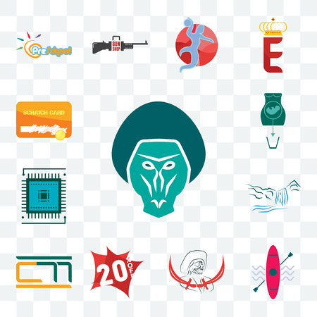 Set Of 13 transparent editable icons such as baboon, kayak, pirate, 20% off, , waterfall, sem, abortion, scratch card, web ui icon pack