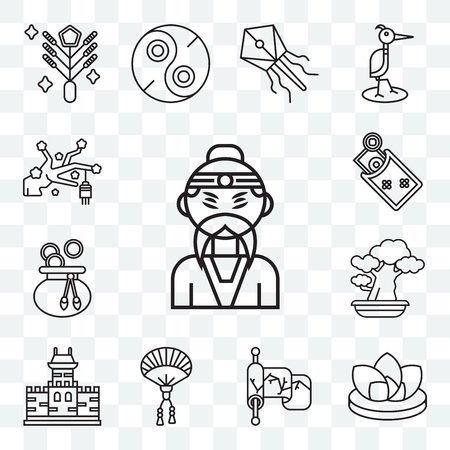 Set Of 13 transparent editable icons such as Emperor, Lotus, Silk, Fan, Great wall of china, Bonsai, Money bag, Money, Sakura, web ui icon pack