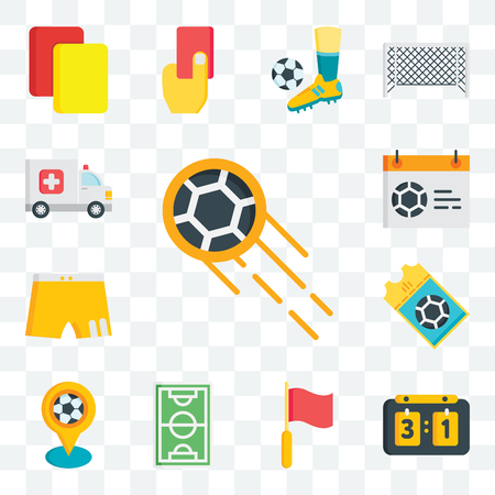 Set Of 13 transparent editable icons such as Ball, Scoreboard, Flag, Football field, Pin, Ticket, Shorts, Calendar, Ambulance, web ui icon pack Vectores