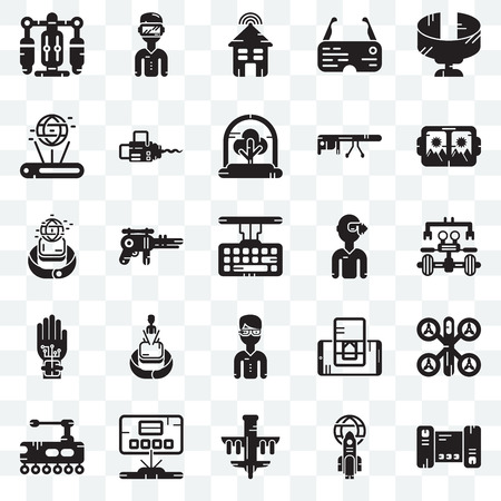 Set Of 25 transparent icons such as Smartphone, Rocket, Drone, Hologram, Tank, Vr glasses, Smart house, web UI transparency icon pack Illustration