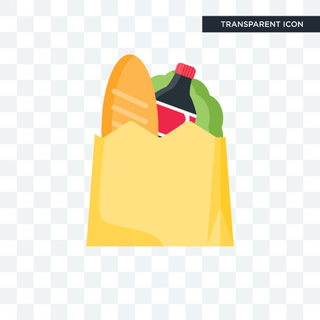 Groceries vector icon isolated on transparent background Çizim