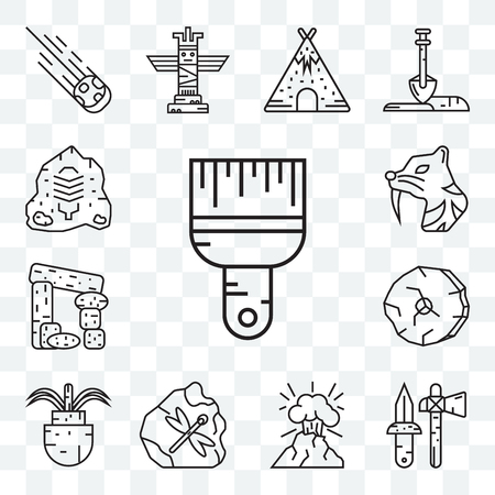 Set Of 13 transparent editable icons such as Brush, Axe, Volcano, Plant, Wheel, Dolmen, Saber toothed tiger, Rock art, web ui icon pack