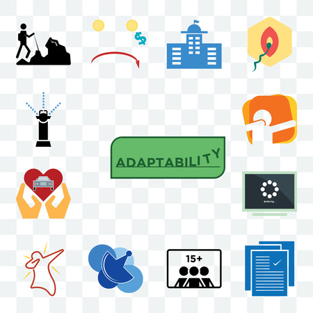 Set Of 13 transparent editable icons such as adaptability, specification, number of players, telecom, dab, buffering, car dealer, sprinkler, web ui icon pack Ilustrace