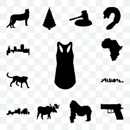 Set Of 13 transparent icons such as tank top outline on white background, handgun gorilla, moose web ui editable icon pack, transparency set