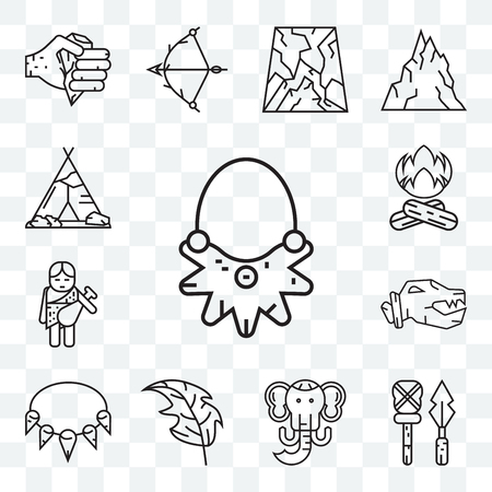 Set Of 13 transparent editable icons such as Necklace, Weapon, Mammoth, Leaf, Troglodyte, Bonfire, Tipi, web ui icon pack