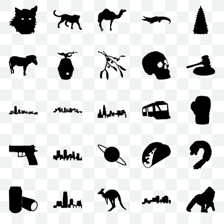 Set Of 25 transparent icons such as gorilla, louisiana, kangaroo, new jersey, beer can, gavel, train, saturn, handgun, zebra, camel, cheetah, web UI transparency icon pack