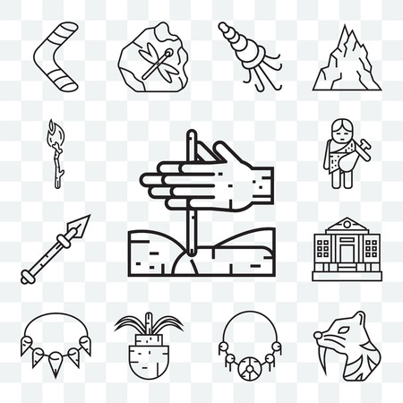 Set Of 13 transparent editable icons such as Bonfire, Saber toothed tiger, Amulet, Plant, Necklace, Spear, Troglodyte, Torch, web ui icon pack