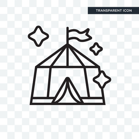 Tent vector icon isolated on transparent background Illustration