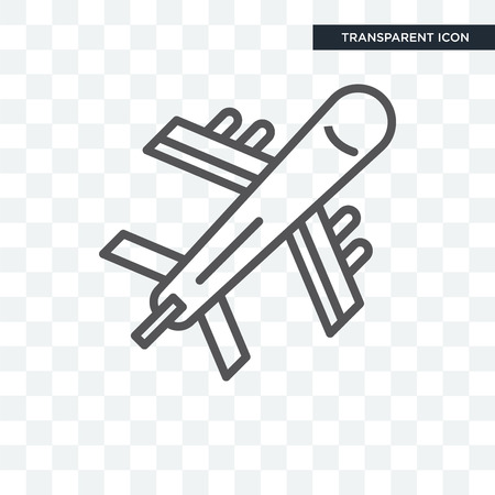Flying Airplane vector icon isolated on transparent background