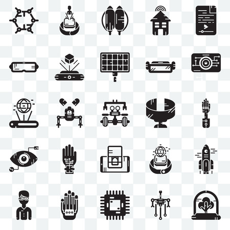 Set Of 25 transparent icons such as Tree, Robot, Chip, Wi gloves, Eye scan, Panoramic view, Smartphone, Jetpack, Hologram, web UI transparency icon pack