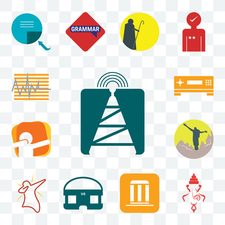 Set Of 13 transparent editable icons such as cell tower, ganesh, municipality, vr headset, dab, hiker, set top box, tracker, web ui icon pack Illustration