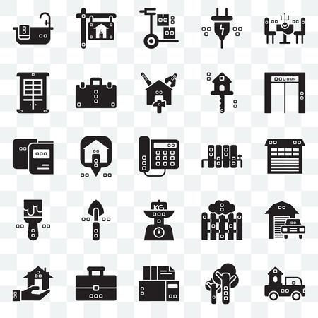 Ensemble de 25 icônes transparentes telles que camions, arbres, archives, sac à livres, immobilier, haut, radiateurs, kilogrammes, peint, façade, brouette, pack d'icônes de transparence de l'interface utilisateur Web Vecteurs