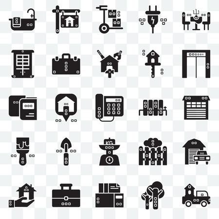 Set Of 25 transparent icons such as Trucks, Trees, Archives, Book bag, Real estate, Up, Radiators, Kilograms, Painted, Facade, Wheelbarrow, web UI transparency icon pack Ilustracja