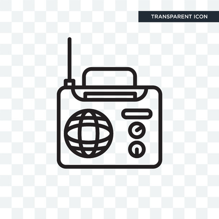 International journal by radio vector icon isolated on transparent background