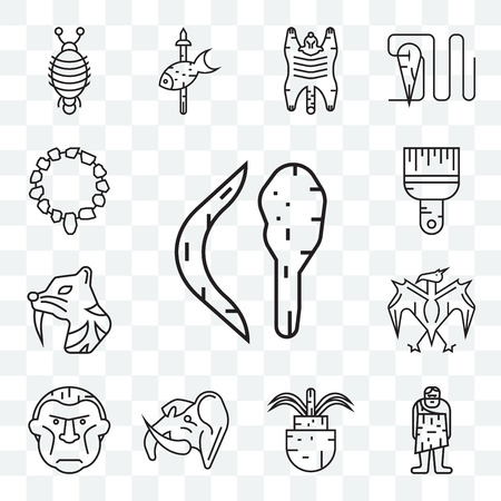 Set Of 13 transparent editable icons such as Boomerang, Troglodyte, Plant, Mammoth, Pterodactyl, Saber toothed tiger, Brush, Necklace, web ui icon pack
