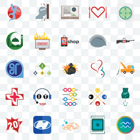Set Of 25 transparent icons such as aquarius, sem, carwash, h, 20% off, gun shop, gynecology, abacus, image of  cross, masjid, online form, frustration, web UI transparency icon pack
