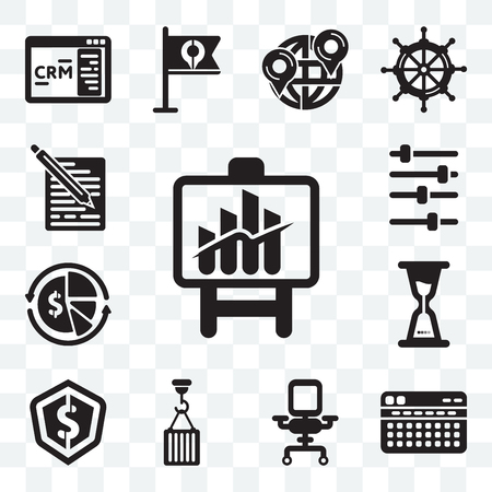 Set Of 13 transparent editable icons such as Bars chart, Stats, Comfortable, Hook, Dollar, Wait, Finances, Music player, School material, web ui icon pack