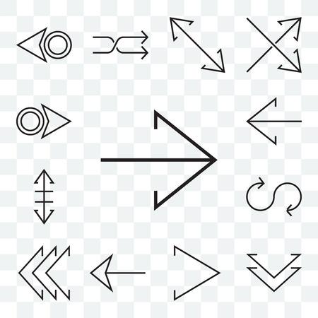 Ensemble de 13 icônes modifiables transparentes telles que la flèche droite, le chevron vers le bas, la boucle gauche, le redimensionnement, le pack d'icônes de l'interface utilisateur Web Vecteurs