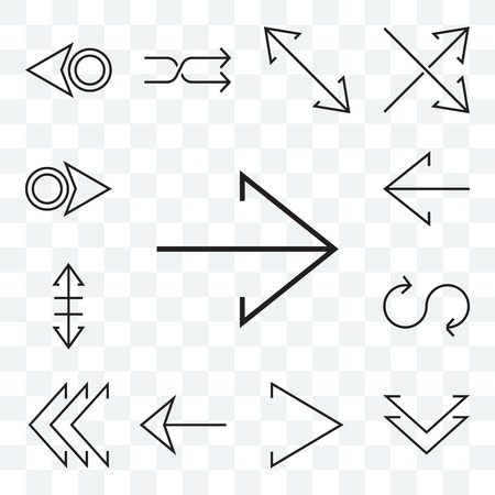 Set Of 13 transparent editable icons such as Right arrow, Down chevron, Left Loop, Resize, web ui icon pack