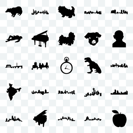 Set Of 25 transparent icons such as apple, missouri, pittsburgh, grand piano, dallas, gandhi, t rex, charlotte, india map, crime scene body, shih tzu, web UI transparency icon pack