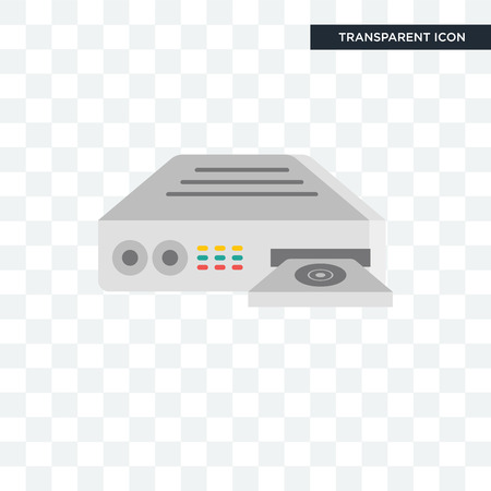 Dvd player vector icon isolated on transparent background